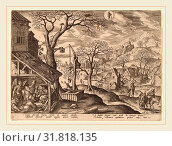 Купить «Adriaen Collaert after Hans Bol (Flemish, c. 1560-1618), The Nativity and the Flight into Egypt (Aquarius), 1585, engraving», фото № 31818135, снято 5 августа 2014 г. (c) age Fotostock / Фотобанк Лори