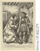 Goetz and Friar Martin, after 1845, Wood engraving (or possibly stereotype), Block: 8 5/16 x 5 1/2 in. (21.1 x 14 cm), Prints, After Eugène Delacroix... (2017 год). Редакционное фото, фотограф © Copyright Artokoloro Quint Lox Limited / age Fotostock / Фотобанк Лори