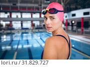Купить «Swimmer in a swimming stadium», фото № 31829727, снято 24 марта 2019 г. (c) Wavebreak Media / Фотобанк Лори
