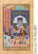 'Laila and Majnun in School', Folio 129 from a Khamsa (Quintet) of Nizami, A.H. 931/A.D. 1524–25, Made in present-day Afghanistan, Herat, Ink, opaque... (2017 год). Редакционное фото, фотограф © Copyright Artokoloro Quint Lox Limited / age Fotostock / Фотобанк Лори