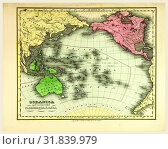 Купить «Map of Oceania, also known as Oceanica, is a region centred on the islands of the tropical Pacific Ocean, 19th century engraving», фото № 31839979, снято 7 августа 2014 г. (c) age Fotostock / Фотобанк Лори