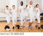 Купить «Portrait of nice mixed age group of athletes», фото № 31843623, снято 30 мая 2018 г. (c) Яков Филимонов / Фотобанк Лори