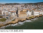Купить «Aerial view of mediterranean resort town Sitges, Spain», фото № 31845415, снято 26 марта 2018 г. (c) Яков Филимонов / Фотобанк Лори