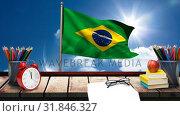 Brazil flag with school supplies. Стоковое видео, агентство Wavebreak Media / Фотобанк Лори