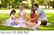 Купить «happy family drinking juice on picnic at park», видеоролик № 31846567, снято 21 июля 2019 г. (c) Syda Productions / Фотобанк Лори