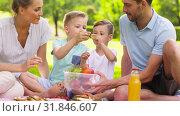 happy family eating fruits on picnic at park. Стоковая анимация, видеограф Syda Productions / Фотобанк Лори