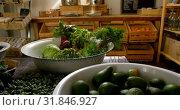 Close-up of vegetables in utensil at supermarket 4k. Стоковое видео, агентство Wavebreak Media / Фотобанк Лори