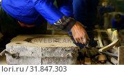 Купить « Worker shaping wooden slab 4k», видеоролик № 31847303, снято 27 сентября 2018 г. (c) Wavebreak Media / Фотобанк Лори