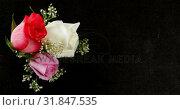 Купить «Bouquet of red, white and pink roses on black surface 4k», видеоролик № 31847535, снято 11 октября 2018 г. (c) Wavebreak Media / Фотобанк Лори