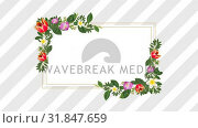 Photo frame for copy space with decorative purple and red flowers. Стоковое видео, агентство Wavebreak Media / Фотобанк Лори