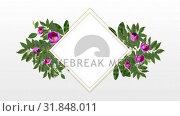 Купить «photo frame for copy space with decorative pink flowers», видеоролик № 31848011, снято 29 ноября 2018 г. (c) Wavebreak Media / Фотобанк Лори