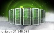 Купить «row of green servers and abstract graphics», видеоролик № 31848691, снято 14 декабря 2018 г. (c) Wavebreak Media / Фотобанк Лори