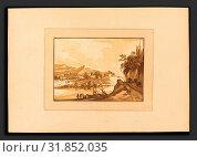 Katharina Prestel after Franz Edmund Weirotter (German, 1747 - 1794), Mountain Landscape, published 1782, aquatint in dark, medium, and light brown (2010 год). Редакционное фото, фотограф Artokoloro / age Fotostock / Фотобанк Лори