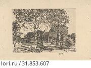 Walt Whitman's Birthplace, 1927, Etching, Plate: 4 7/16 x 6 3/8 in. (11.2 x 16.2 cm), Prints, Childe Hassam (American, Dorchester, Massachusetts 1859–1935 East Hampton, New York) (2017 год). Редакционное фото, фотограф © Copyright Artokoloro Quint Lox Limited / age Fotostock / Фотобанк Лори