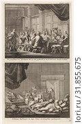 Bishops at a table and drunken bishops asleep in a room, Jan Luyken, Jacobus van Hardenberg, Barent Visscher, 1701 (2015 год). Редакционное фото, фотограф Artokoloro / age Fotostock / Фотобанк Лори
