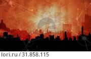 Купить «Abstract line connection on night city background», видеоролик № 31858115, снято 26 ноября 2018 г. (c) Wavebreak Media / Фотобанк Лори