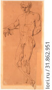 Standing Male Nude, early 19th century, Pen and brown ink on tracing paper, 17 7/8 x 8in. (45.4 x 20.3cm), Drawings, Anonymous, Italian, early 19th century (2017 год). Редакционное фото, фотограф © Copyright Artokoloro Quint Lox Limited / age Fotostock / Фотобанк Лори
