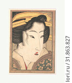 Head of a Beauty, Edo period (1615–1868), ca. 1825, Japan, Polychrome woodblock print, ink and color on paper, H. 7 in. (17.8 cm), W. 5 in. (12.7 cm), Prints, Keisai Eisen (Japanese, 1790–1848) (2017 год). Редакционное фото, фотограф © Copyright Artokoloro Quint Lox Limited / age Fotostock / Фотобанк Лори