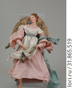Купить «Angel, second half 18th century, Italian, Naples, Polychromed terracotta head, wooden limbs and wings, body of wire wrapped in tow, various fabrics, H. 16 1/2 in. (41.9 cm.), Crèche», фото № 31865519, снято 18 мая 2017 г. (c) age Fotostock / Фотобанк Лори