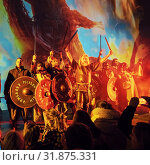 Vikings entertaining people during The Winter Lights Festival, Reykjavik, Iceland. Стоковое фото, фотограф Ragnar Th. Sigurdsson / age Fotostock / Фотобанк Лори
