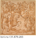 The Contest Between Athena and Poseidon for the Possession of Athens, 1570s, Pen and brown ink, brush and brown wash, over traces of leadpoint or black... (2017 год). Редакционное фото, фотограф © Copyright Artokoloro Quint Lox Limited / age Fotostock / Фотобанк Лори