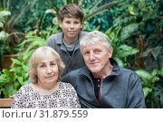 Купить «Portrait of grandpa and grandma with their grandson, Caucasian people family», фото № 31879559, снято 15 июня 2019 г. (c) Кекяляйнен Андрей / Фотобанк Лори