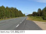 Купить «Northern Highway in Finnish Lapland. Bright sunny day», фото № 31882011, снято 2 июля 2019 г. (c) Валерия Попова / Фотобанк Лори