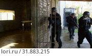 Купить «Front view of mixed-race soldiers conduct military exercise at military base 4k», видеоролик № 31883215, снято 27 июня 2018 г. (c) Wavebreak Media / Фотобанк Лори