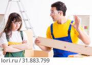 Купить «Man explaining woman woodworking tips in wood workshop», фото № 31883799, снято 6 декабря 2017 г. (c) Elnur / Фотобанк Лори