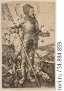 Купить «Saint George Standing, ca. 1502, Engraving, Sheet: 4 7/16 × 2 13/16 in. (11.2 × 7.1 cm), Prints, Albrecht Dürer (German, Nuremberg 1471–1528 Nuremberg)», фото № 31884859, снято 26 апреля 2017 г. (c) age Fotostock / Фотобанк Лори