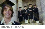 Digital composite of students holding degree. Стоковое видео, агентство Wavebreak Media / Фотобанк Лори