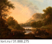 Figures with a Donkey and Dog Crossing a Weir Signed and dated in ocher-color paint, lower right: 'Ja: Lambert Lewes 1767', James Lambert of Lewes, 1725-1788, British (2014 год). Редакционное фото, фотограф Artokoloro / age Fotostock / Фотобанк Лори