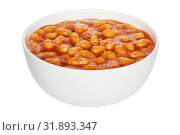 Купить «Baked Beans in a white china bowl, front to back focus, clipping path.», фото № 31893347, снято 15 ноября 2019 г. (c) easy Fotostock / Фотобанк Лори