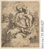 Madonna and Child seated on clouds and surrounded by angels, ca. 1639, Etching, Sheet (Trimmed): 5 9/16 × 4 1/2 in. (14.1 × 11.5 cm), Prints, Simone Cantarini (Italian, Pesaro 1612–1648 Verona) (2017 год). Редакционное фото, фотограф © Copyright Artokoloro Quint Lox Limited / age Fotostock / Фотобанк Лори