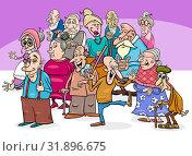 Cartoon Illustration of Elder People or Senior Characters Group. Стоковое фото, фотограф Zoonar.com/Igor Zakowski / easy Fotostock / Фотобанк Лори