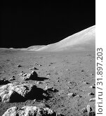 Купить «EARTH The Moon -- 13 Dec 1972 -- This view of the Lunar surface was taken during the Apollo 17 mission. The seventh and last manned lunar landing and return...», фото № 31897203, снято 18 августа 2019 г. (c) age Fotostock / Фотобанк Лори