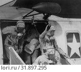 Купить «PACIFIC OCEAN Aboard the USS Hornet -- 24 Jul 1969 -- Donned in biological isolation garments, the Apollo 11 crew members, (L-R) Edwin Aldrin, Neil Armstrong...», фото № 31897295, снято 18 августа 2019 г. (c) age Fotostock / Фотобанк Лори