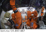 Купить «USA Johnson Space Centre -- 24 Oct 2014 -- File image dated 24 Oct 2014 of NASA Spacesuit engineers demonstrate how four crew members would be arranged...», фото № 31897487, снято 1 октября 2014 г. (c) age Fotostock / Фотобанк Лори