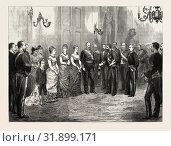 THE BETROTHAL OF THE KING OF SPAIN: THE KING'S ENVOY FORMALLY ASKING THE DUKE OF MONTPENSIER FOR THE HAND OF THE INFANTA MERCEDES, 1878 (2012 год). Редакционное фото, фотограф Artokoloro / age Fotostock / Фотобанк Лори