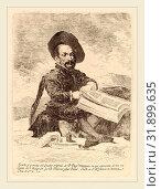 Купить «Francisco de Goya after Diego Velázquez, Un enano (A Dwarf), Spanish, 1746-1828, 1778, etching on heavy laid paper [first edition impression printed in the Calcografia in 1778-79]», фото № 31899635, снято 5 августа 2014 г. (c) age Fotostock / Фотобанк Лори