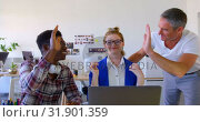 Купить «Multi-ethnic business colleagues discussing over laptop in modern office 4k», видеоролик № 31901359, снято 18 ноября 2018 г. (c) Wavebreak Media / Фотобанк Лори