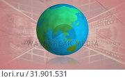 Купить «Globe rotating and US dollar», видеоролик № 31901531, снято 22 января 2019 г. (c) Wavebreak Media / Фотобанк Лори