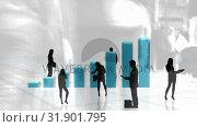 Купить «Business people standing against illustration of bar graphs», видеоролик № 31901795, снято 16 января 2019 г. (c) Wavebreak Media / Фотобанк Лори