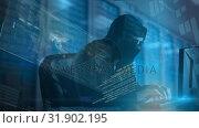 Купить «Hacker hacking computer with data », видеоролик № 31902195, снято 22 января 2019 г. (c) Wavebreak Media / Фотобанк Лори