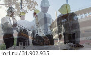 Купить «Colleagues worker interacting with a construction site on the background», видеоролик № 31902935, снято 16 января 2019 г. (c) Wavebreak Media / Фотобанк Лори