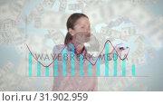 Купить «Businesswoman drawing combo chart on glass screen with banknotes moving», видеоролик № 31902959, снято 16 января 2019 г. (c) Wavebreak Media / Фотобанк Лори