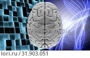 Купить «White brain with shining light lines and squares», видеоролик № 31903051, снято 22 января 2019 г. (c) Wavebreak Media / Фотобанк Лори
