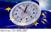 European flag and UK flag waiving behind Analog clock. Стоковое видео, агентство Wavebreak Media / Фотобанк Лори