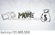 Купить «Money illustration and lettering», видеоролик № 31905559, снято 13 февраля 2019 г. (c) Wavebreak Media / Фотобанк Лори