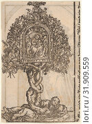 A Golden Reliquary with the Tree of Jesse, from the Large Series of Wittenberg Reliquaries, 1509, Woodcut, Sheet: 4 13/16 × 3 1/8 in. (12.2 × 8 cm),... (2017 год). Редакционное фото, фотограф © Copyright Artokoloro Quint Lox Limited / age Fotostock / Фотобанк Лори